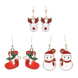 3 Piece Set - White Austrian Crystal Enamelled Snowman, Reindeer and Christmas Socks Hook Earrings i
