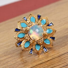 GP AA Ethiopian Welo Opal and Blue Sapphire Enamelled Ring in 14K Gold Overlay Sterling Silver 1.35 Ct.