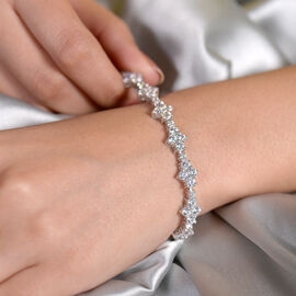 J Francis Platinum Overlay Sterling Silver Bracelet (Size 7.5) Made with SWAROVSKI ZIRCONIA 11.96 Ct, Silver wt 13.94 Gms