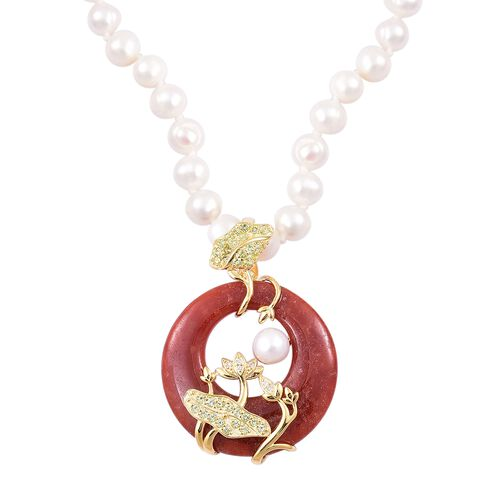 Limited Edition-Red Jade, Freshwater Pearl, Hebei Peridot and Natural White Cambodian Zircon Necklace (Size 18) in Yellow Gold Overlay Sterling Silver 134.810 Ct.