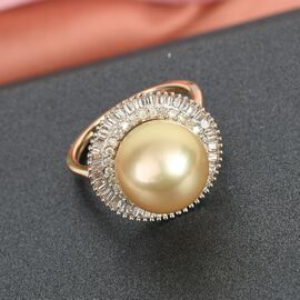 Royal Bali Collection - 9K Yellow Gold South Sea Pearl and Diamond Halo Ring