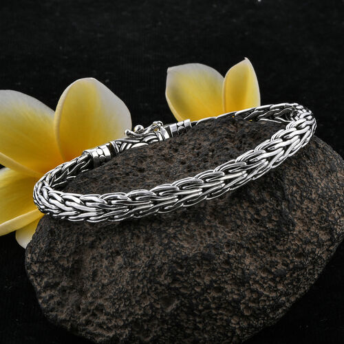 Royal Bali Collection Sterling Silver Tulang Naga Bracelet (Size 7), Silver wt 33.59 Gms