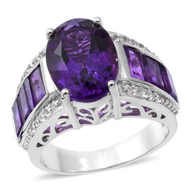 Extremely Rare Size 8.72 Ct Lusaka Amethyst and Zircon Classic Ring in Rhodium Plated Silver