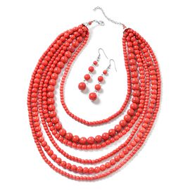 2 Piece Set - Red Howlite Multi Row Necklace (Size 18 with 2 inch Extender) and Hook Earrings in Sil