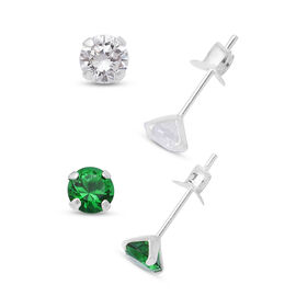 One Time Close Out Deal Set of 2 -  ELANZA Simulated Green and White Diamond Stud Earrings (with Pus
