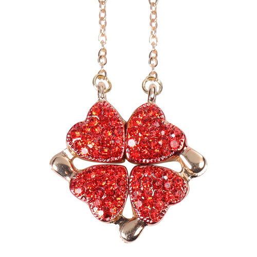 Red Austrian Crystal Rose-Shaped Enamelled Trinket Box and Necklace (Size 18-20 with 3 inch Extender) with Magnet in Yellow Gold Tone