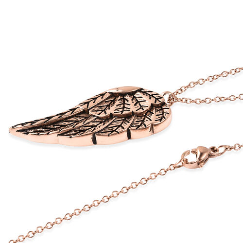 2 Piece Set - Angel Wing Memorial Pendant with Chain (Size 20) and Funnel with Needle in Rose Gold Tone