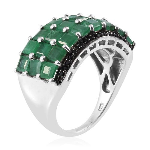 Designer Insired- Kagem Zambian Emerald with Boi Ploi Black Spinel Ring in Black Rhodium and Platinum Overlay Sterling Silver 4.500 Ct.