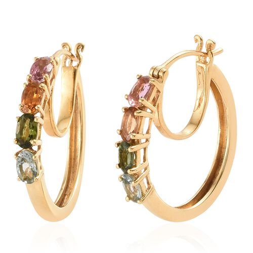 Rainbow Tourmaline (Ovl) Earrings (with Clasp Lock) in 14K Gold Overlay Sterling Silver 1.750 Ct. Silver wt 5.49 Gms.