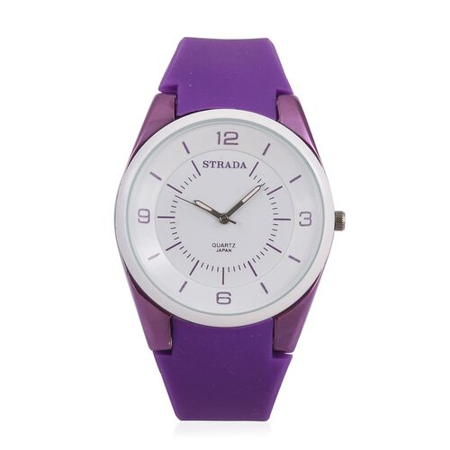 STRADA Japanese Movement White Dial Water Resistant Watch in Neon Purple Tone with Purple Colour Silicone Strap
