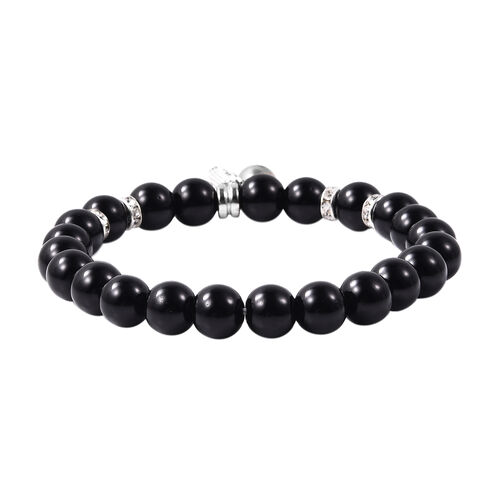 Simulated Black Spinel (Rnd), White Austrian Crystal Stretchable Beads Bracelet (Size 7) with Charm in Antique Silver Plated