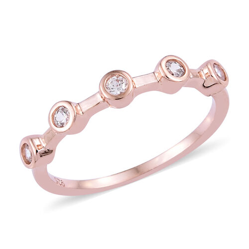 Set of 3 Natural Cambodian Zircon (Rnd) Stacker Ring in Platinum,Yellow and Rose Gold Overlay Sterling Silver 0.750 Ct.
