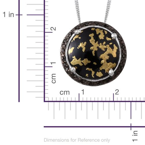 Goldenite (Rnd 4.50 Ct), Black Diamond Pendant With Chain in Platinum Overlay Sterling Silver 4.600 Ct.