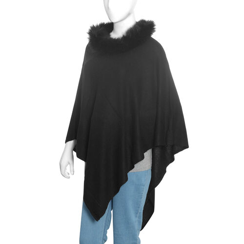 100 % Pashmina Wool Black Colour Poncho (Size 70x70 Cm)