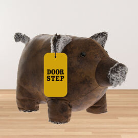 Lesser & Pavey - Faux Leather Piggy Doorstop in Brown (Size 36x23x16 Cm)