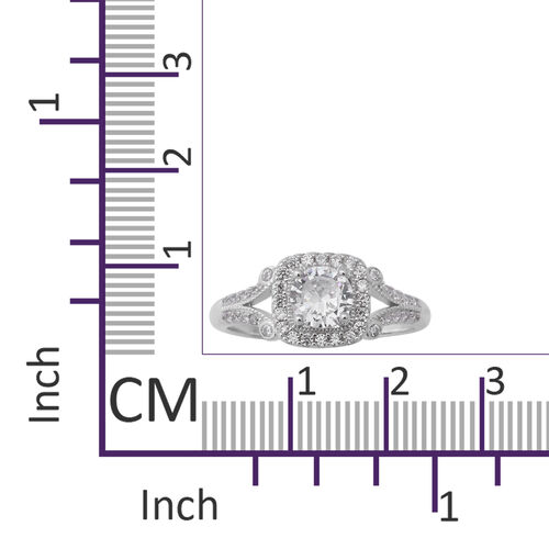 ELANZA Simulated Diamond Ring in Rhodium Overlay Sterling Silver 2.17 Ct.