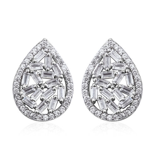 ELANZA Simulated Diamond (Bgt) Drop Stud Earrings (with Push Back) in Rhodium Overlay Sterling Silver