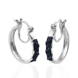 Blue diamond Hoop Earrings in Platinum Plated Sterling Silver 4.33 Grams With Clasp Lock