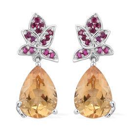 GP 5.56 Ct Citrine Multi Gemstones Drop Earrings in Sterling Silver 5.94 Grams With Push Back