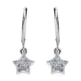 9K White Gold SGL Certified Diamond (I3/G-H) Lever Back Star Earrings 0.25 Ct.