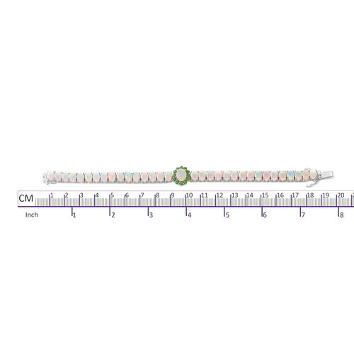 Ethiopian Welo Opal (Ovl 1.070), Russian Diopside Bracelet (Size 7.5) in Rhodium Overlay Sterling Silver 17.680 Ct, Silver wt 17.51 Gms.