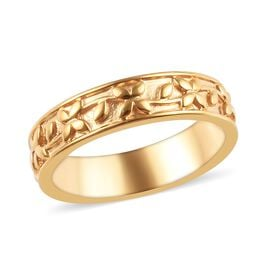 14K Gold Overlay Sterling Silver Engraved Band Ring