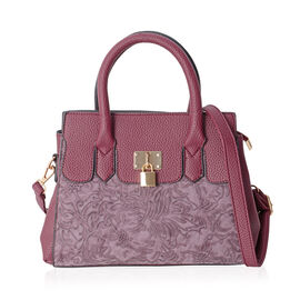 Richmond Fuchsia  Embossed Pattern Tote Bag with External Zipper Pocket and Removable Shoulder Strap