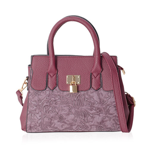 Richmond Fuchsia  Embossed Pattern Tote Bag with External Zipper Pocket and Removable Shoulder Strap (Size 30x22x11 Cm)