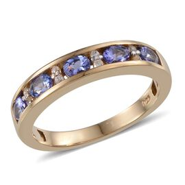 Tanzanite (Ovl), Natural Cambodian Zircon Half Eternity Band Ring in 14K Gold Overlay Sterling Silve