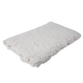 100% Cotton Handmade Crochet Lace Throw (Size 180x130 Cm) - White