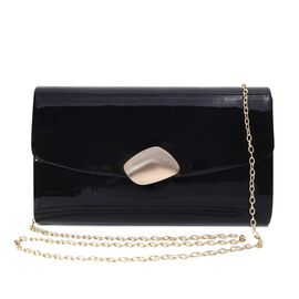 Clutch Bag with Shoulder Chain Strap and Magnetic Flap Closure (Size 23.5x13.5x6 Cm) - Black