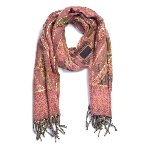 Hand Embroidered Adda Work from India - Coral and Multi Colour Scarf (Size 70x190 Cm)