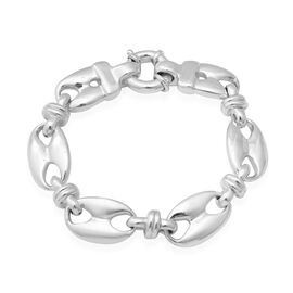 Designer Inspired- Rhodium Overlay Sterling Silver Mariner Link Bracelet (Size 8), Silver wt 19.83 G