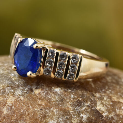 Designer Inspired Very Rare 9K Yellow Gold AAA Blue Spinel (Ovl)8x6mm), Natural Cambodian Zircon Ring 2.000 Ct.