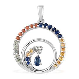 Rainbow Sapphire (Pear and Rnd) Swirl Pendant in Platinum Overlay Sterling Silver 1.500 Ct