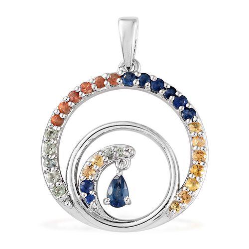 1.50 Carat Rainbow Sapphire Swirl Pendant in Platinum Plated Silver