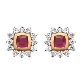 African Ruby and Natural Cambodian Zircon Stud Earrings (with Push Back) in 14K Gold Overlay Sterlin