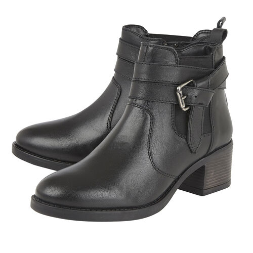 Lotus Black Leather Janet Ankle Boots (Size 4)