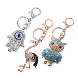 3 Piece Set- White, Black and Multi Colour Austrian Crystal (Rnd) Hamsa Hand, Owl and Flamingo Key C