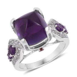 12.04 Ct Amethyst and Multi Gemstone Classic Ring in Platinum Plated Silver 7.06 Grams