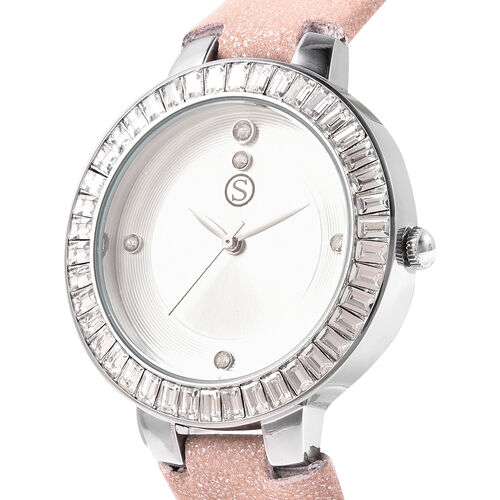 3 Piece Set - STRADA Japanese Movement White Austrian Studded Water Resistant Watch with Nude Pink Strap, Simulated Champagne Diamond Studded Earrings and Pendant with Chain (Size 24) in Silver Tone