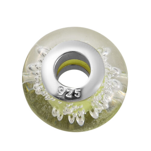 Charmes De Memoire Greenish Yellow Murano Style Glass Bead Charm in Platinum Overlay Sterling Silver