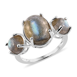 Labradorite (Ovl and Rnd) Three Stone Ring in Sterling Silver 6.250 Ct.