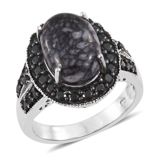 Austrian Pinolith (Ovl 6.45 Ct), Boi Ploi Black Spinel Ring in Platinum Overlay Sterling Silver 7.750 Ct.