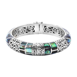 Royal Bali Collection Abalone Shell Filigree Bangle in Sterling Silver 7.5 Inch