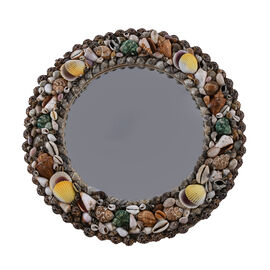 Home Decor Mirror with Multicolour Seashell Frame (Size 40Cm)