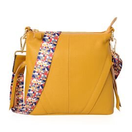 Super Soft 100% Genuine Leather Yellow Colour Multi Compartment Crossbody Bag with Detachable Crossb