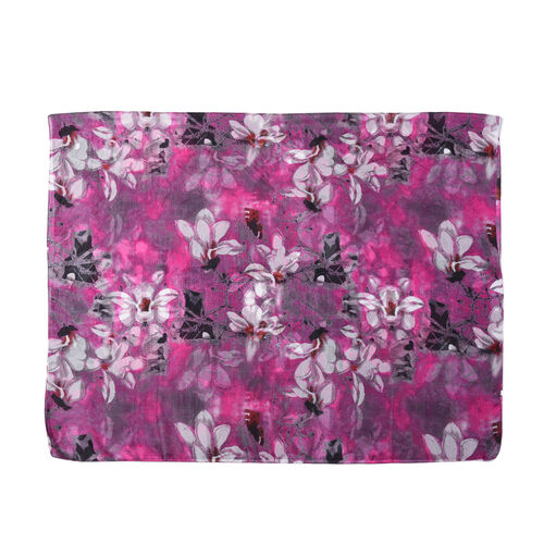 Close Out Deal- 100% Mulberry Silk Floral Pattern Scarf (Size 175x105 Cm) - Purple and White
