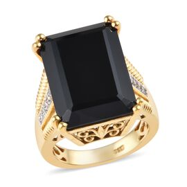 17.25 Ct Natural Boi Ploi Black Spinel and Zircon Solitaire Desgin Ring in 14K Gold Plated Silver