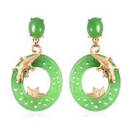 Green Jade Lizard Circular Earrings (with Push Back) in Yellow Gold Overlay Sterling Silver 30.25 Ct